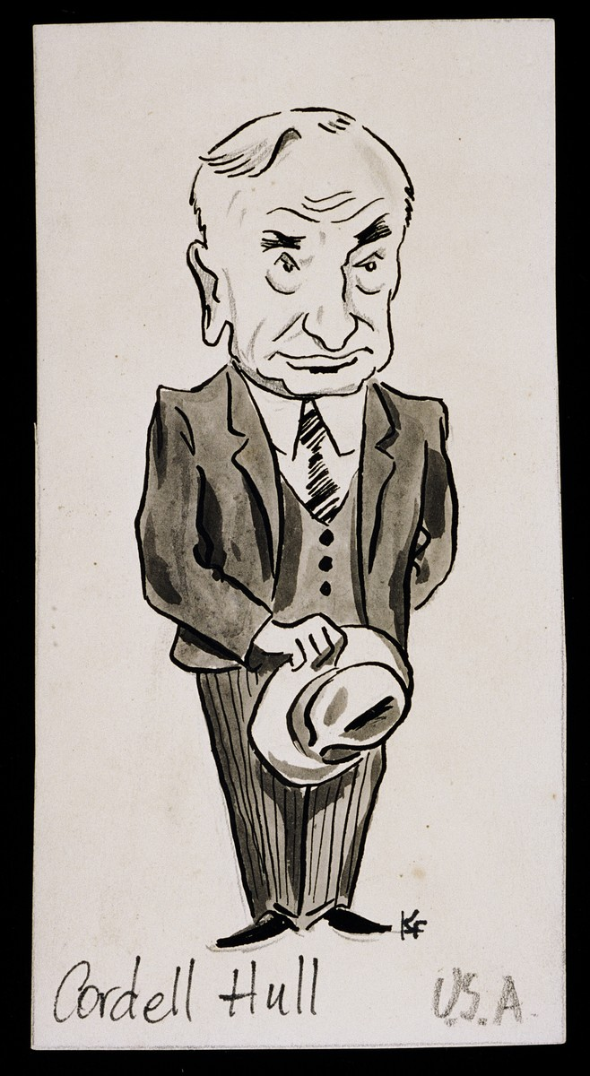 "Caricature of Cordell Hull from ""World War II Personalities in Cartoons/Originals done for 'La Nacion' Santo Domingo, 1939-1946"" by Klaus Martin Frank."