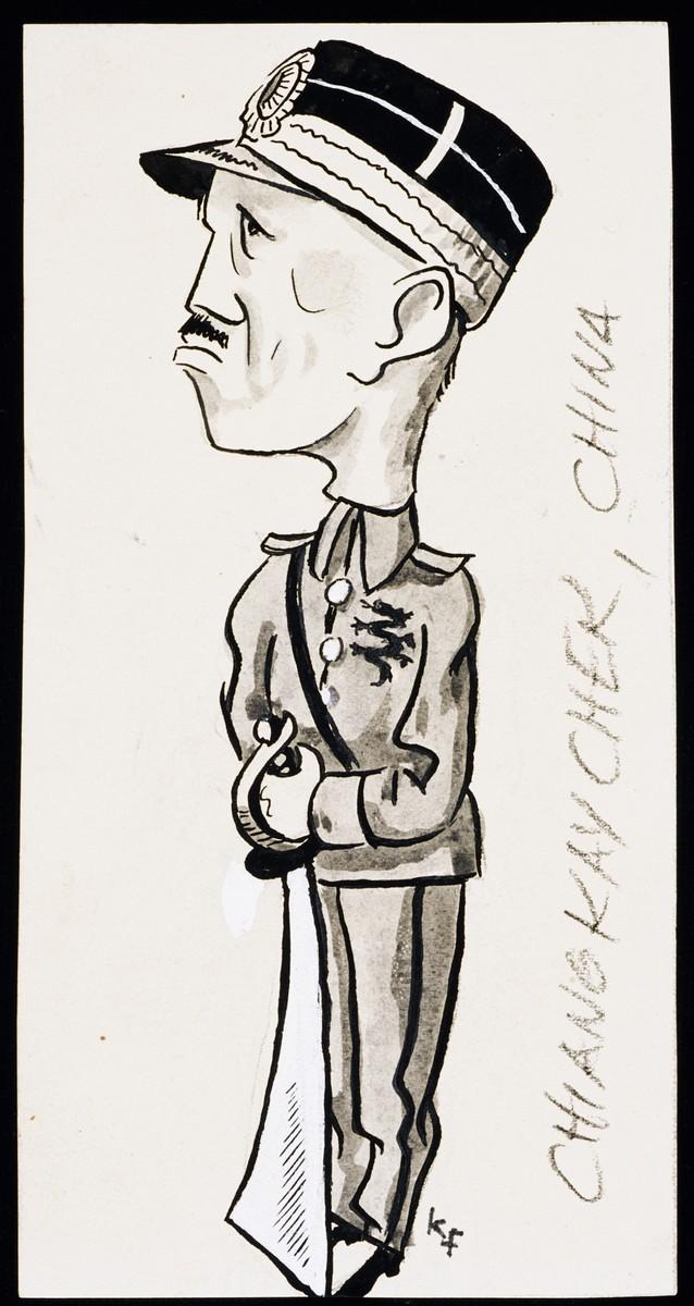 "Caricature of Chiang Kai-Shek, as part of ""World War II Personalities in Cartoons/Originals done for 'La Nacion' Santo Domingo, 1939-1946"" by Klaus Martin Frank."