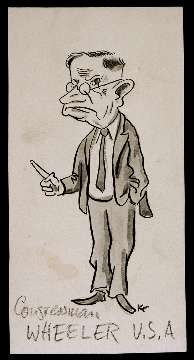 "Caricature of Congressman Wheeler from ""World War II Personalities in Cartoons/Originals done for 'La Nacion' Santo Domingo, 1939-1946"" by Klaus Martin Frank."