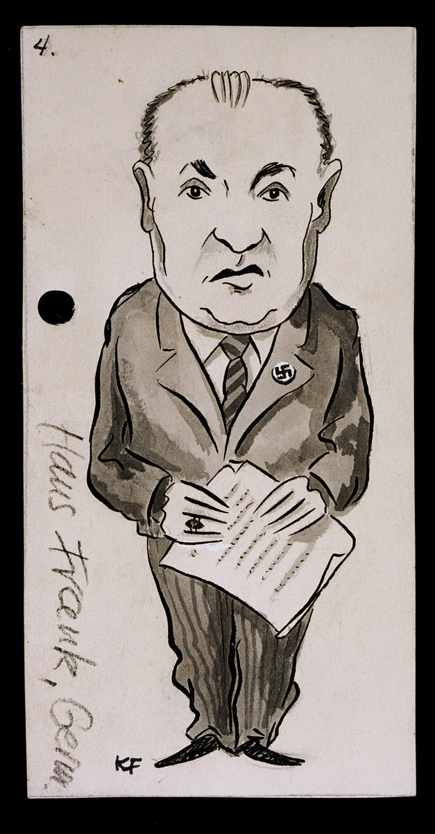 "Caricature of Hans Frank from ""World War II Personalities in Cartoons/Originals done for 'La Nacion' Santo Domingo, 1939-1946"" by Klaus Martin Frank."