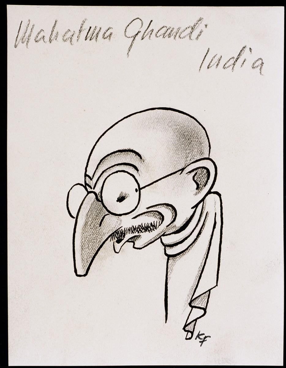 "Caricature of Mahatma Ghandi, as part of ""World War II Personalities in Cartoons/Originals done for 'La Nacion' Santo Domingo, 1939-1946"" by Klaus Martin Frank."