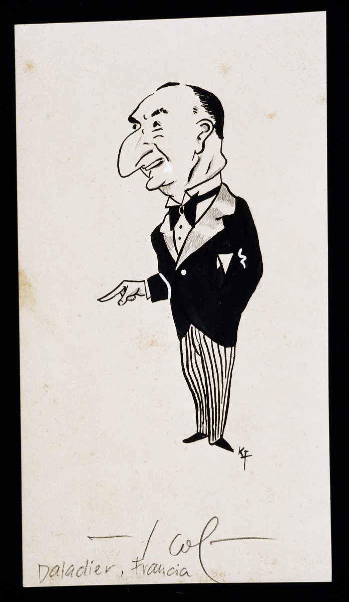 "Caricature of Daladier from ""World War II Personalities in Cartoons/Originals done for 'La Nacion' Santo Domingo, 1939-1946"" by Klaus Martin Frank."
