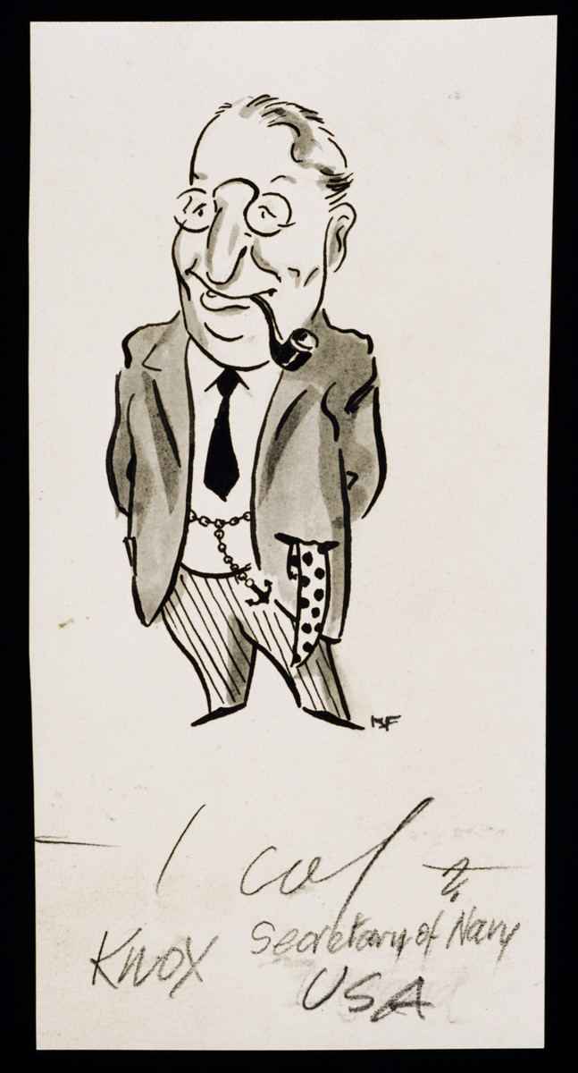 "Caricature of Sec. Frank Knox from ""World War II Personalities in Cartoons/Originals done for 'La Nacion' Santo Domingo, 1939-1946"" by Klaus Martin Frank."