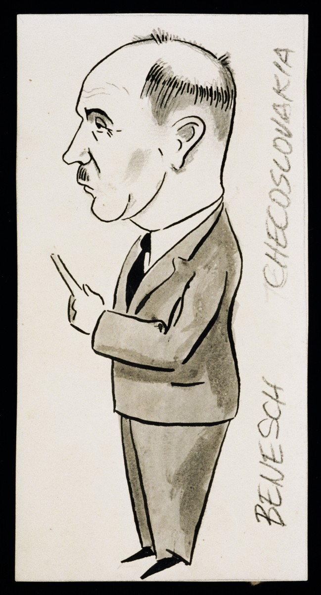 "Caricature of Edvard Benesch from ""World War II Personalities in Cartoons/Originals done for 'La Nacion' Santo Domingo, 1939-1946"" by Klaus Martin Frank."