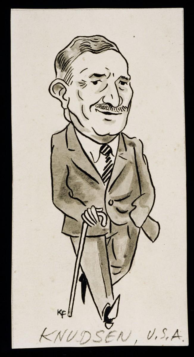 "Caricature of William Knudsen from ""World War II Personalities in Cartoons/Originals done for 'La Nacion' Santo Domingo, 1939-1946"" by Klaus Martin Frank."