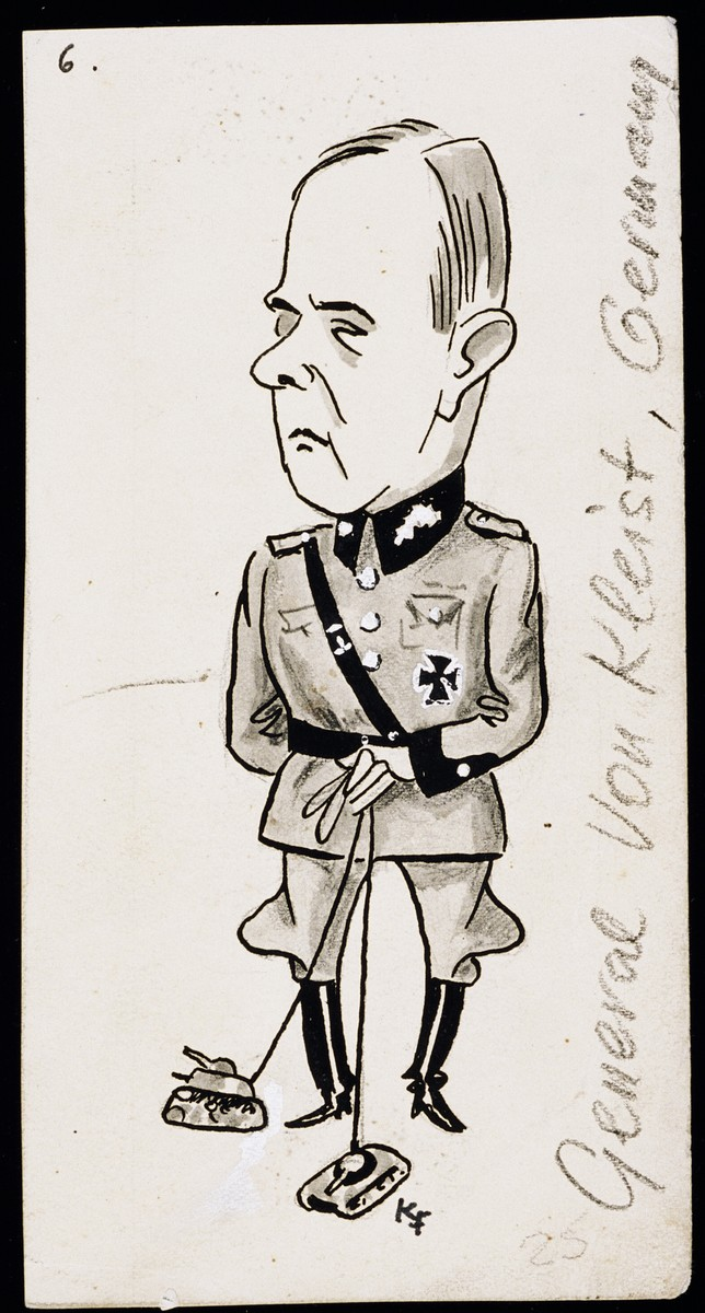 "Caricature of General Ewald von Kleist from ""World War II Personalities in Cartoons/Originals done for 'La Nacion' Santo Domingo, 1939-1946"" by Klaus Martin Frank."