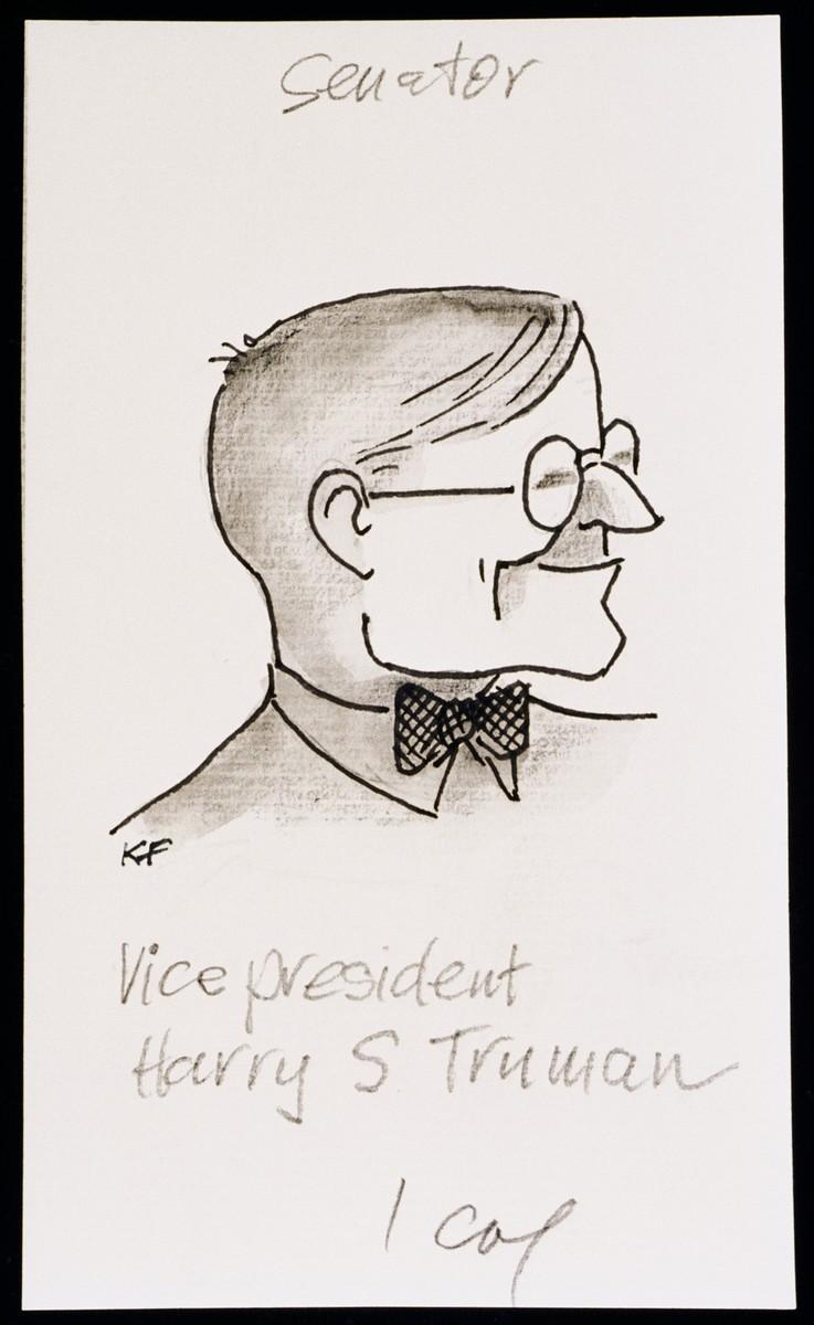"Caricature of Harry Truman, as part of ""World War II Personalities in Cartoons/Originals done for 'La Nacion' Santo Domingo, 1939-1946"" by Klaus Martin Frank."
