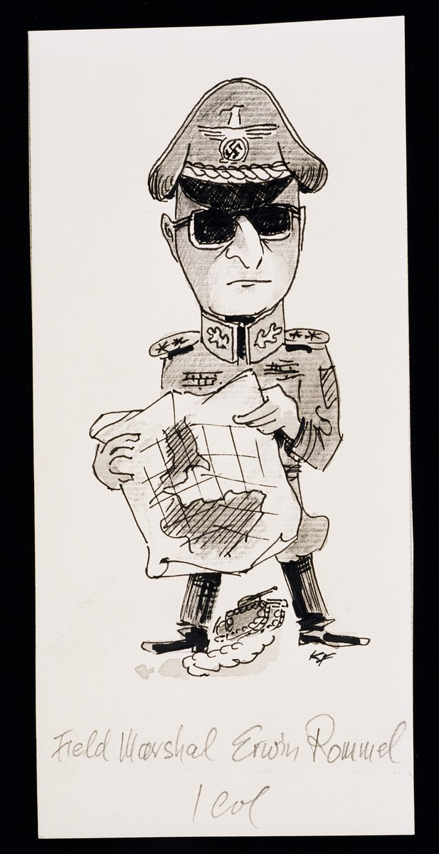 "Caricature of Field Marshal Erwin Rommel from ""World War II Personalities in Cartoons/Originals done for 'La Nacion' Santo Domingo, 1939-1946"" by Klaus Martin Frank."