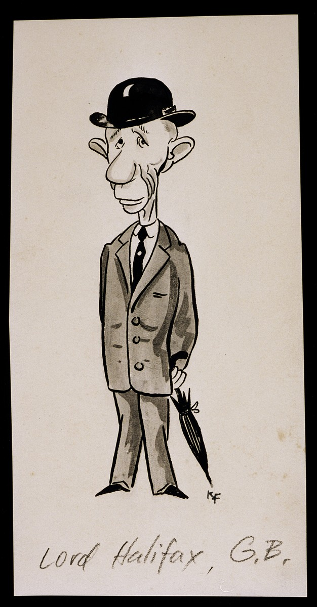 """Caricature of Lord Halifax from """"World War II Personalities in Cartoons/Originals done for 'La Nacion' Santo Domingo, 1939-1946"""" by Klaus Martin Frank."""