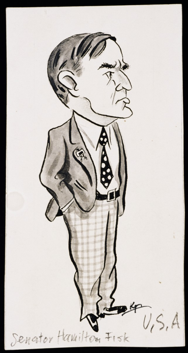 "Caricature of Senator Hamilton Fisk, as part of ""World War II Personalities in Cartoons/Originals done for 'La Nacion' Santo Domingo, 1939-1946"" by Klaus Martin Frank."