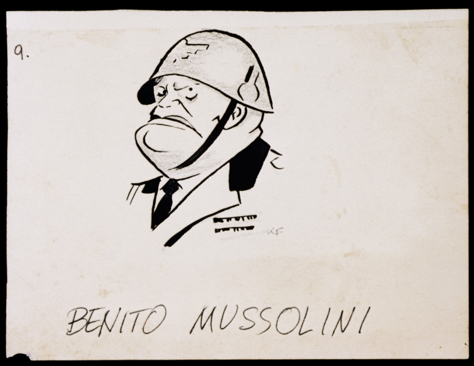 "Caricature of Benito Mussolini, as part of ""World War II Personalities in Cartoons/Originals done for 'La Nacion' Santo Domingo, 1939-1946""  Sketchbook of Nazi caricatures by Klaus Martin Frank."