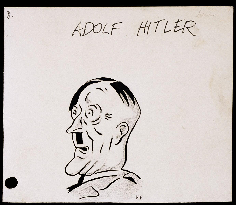 "Caricature of Adolf Hitler, as part of ""World War II Personalities in Cartoons/Originals done for 'La Nacion' Santo Domingo, 1939-1946""  Sketchbook of Nazi caricatures by Klaus Martin Frank."