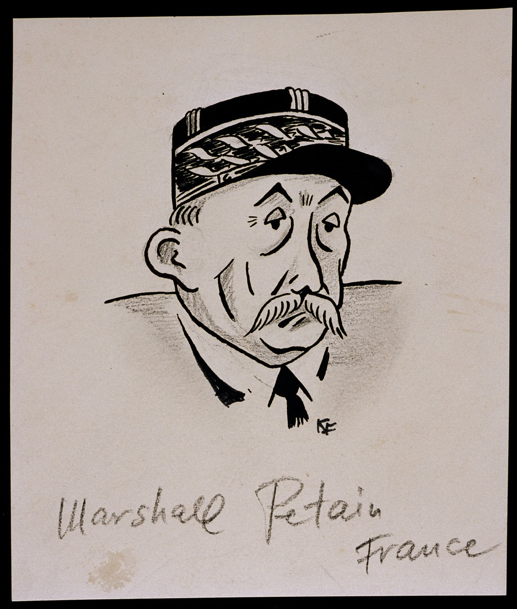"Caricature of Marshal Henri Petain, as part of ""World War II Personalities in Cartoons/Originals done for 'La Nacion' Santo Domingo, 1939-1946"" by Klaus Martin Frank."