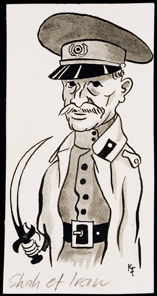 """Caricature of the Shah of Iran, as part of """"World War II Personalities in Cartoons/Originals done for 'La Nacion' Santo Domingo, 1939-1946"""" by Klaus Martin Frank."""