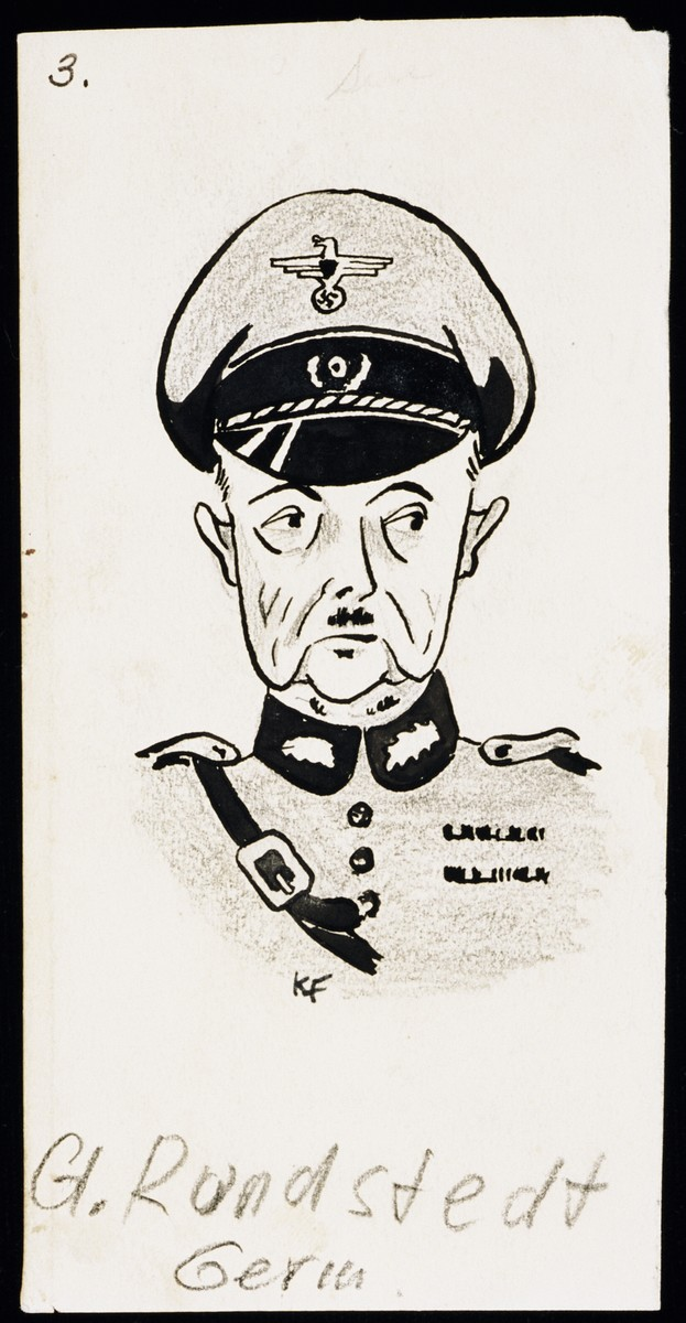 "Caricature of General Gerd von Runsteadt, as part of ""World War II Personalities in Cartoons/Originals done for 'La Nacion' Santo Domingo, 1939-1946"" by Klaus Martin Frank."