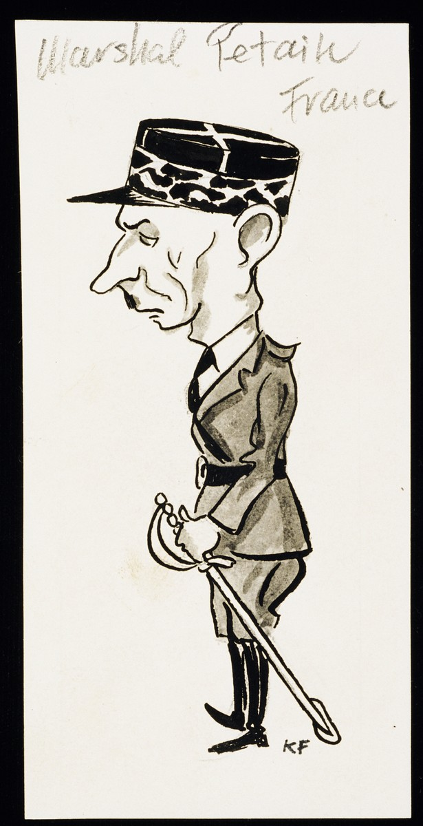 "Caricature of Marshal Henri Petain from ""World War II Personalities in Cartoons/Originals done for 'La Nacion' Santo Domingo, 1939-1946"" by Klaus Martin Frank."