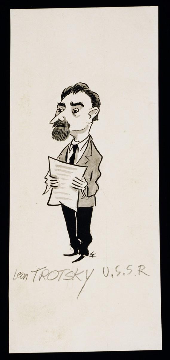 "Caricature of Leon Trotsky from ""World War II Personalities in Cartoons/Originals done for 'La Nacion' Santo Domingo, 1939-1946"" by Klaus Martin Frank."