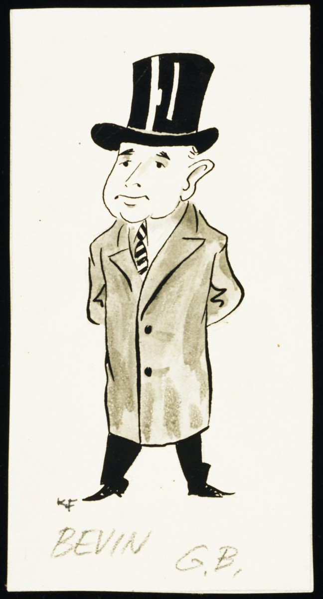 "Caricature of Ernest Bevin as part of ""World War II Personalities in Cartoons/Originals done for 'La Nacion' Santo Domingo, 1939-1946"" by Klaus Martin Frank."