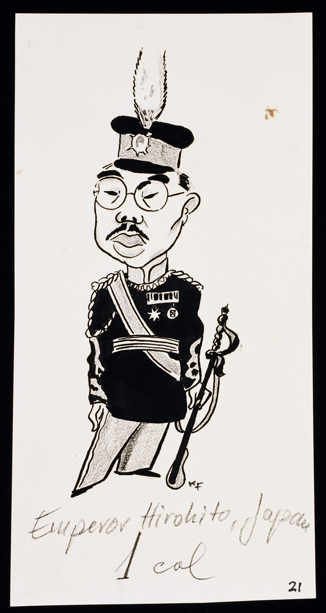 "Caricature of Emperor Hirohito, as part of ""World War II Personalities in Cartoons/Originals done for 'La Nacion' Santo Domingo, 1939-1946"" by Klaus Martin Frank."