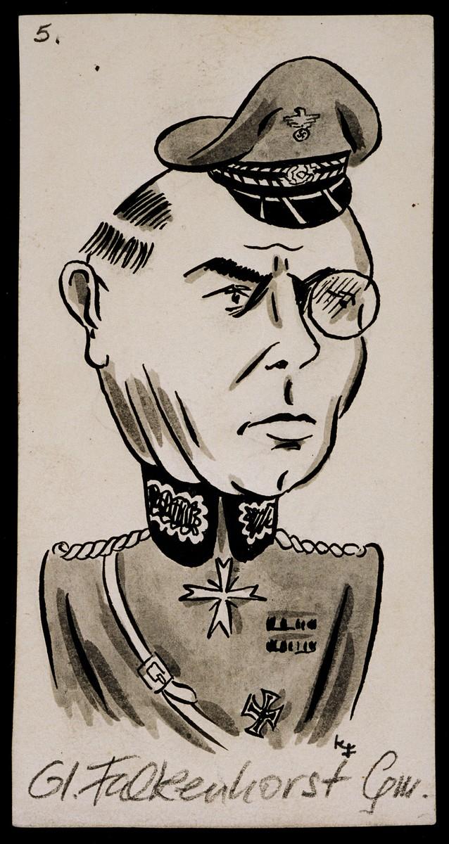 "Caricature of General Nikolaus von Falkenhorst from ""World War II Personalities in Cartoons/Originals done for 'La Nacion' Santo Domingo, 1939-1946"" by Klaus Martin Frank."