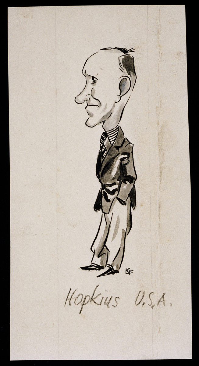 "Caricature of Harry Hopkins from ""World War II Personalities in Cartoons/Originals done for 'La Nacion' Santo Domingo, 1939-1946"" by Klaus Martin Frank."