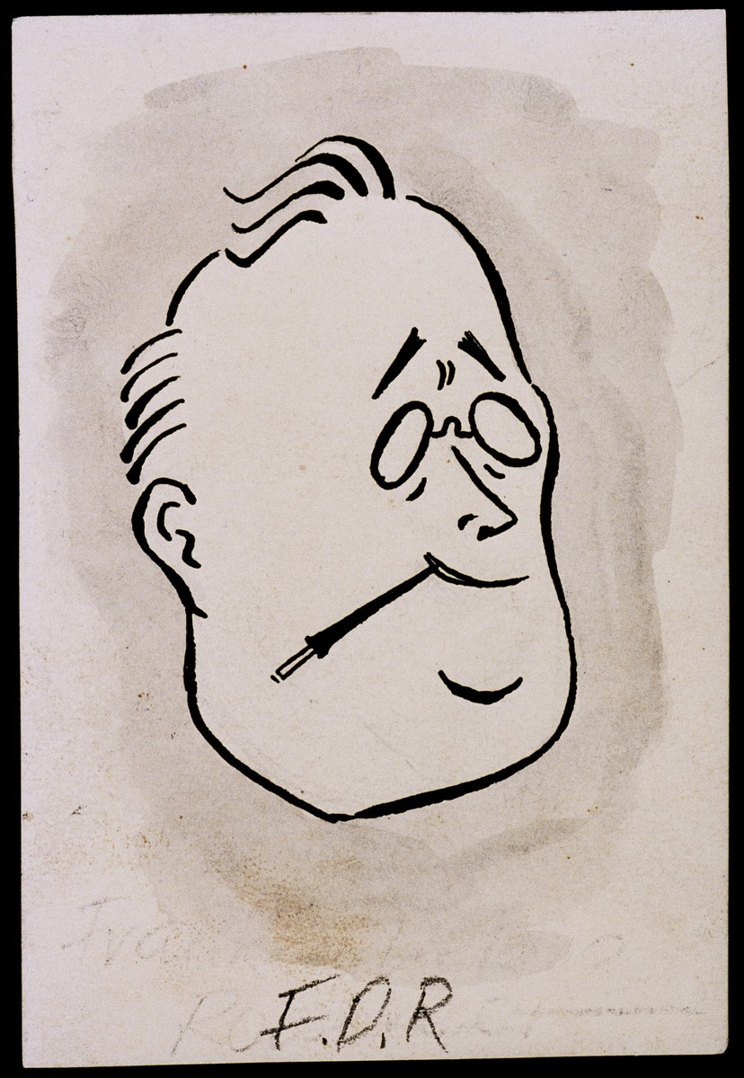 "Caricature of Franklin D Roosevelt, as part of ""World War II Personalities in Cartoons/Originals done for 'La Nacion' Santo Domingo, 1939-1946"" by Klaus Martin Frank."