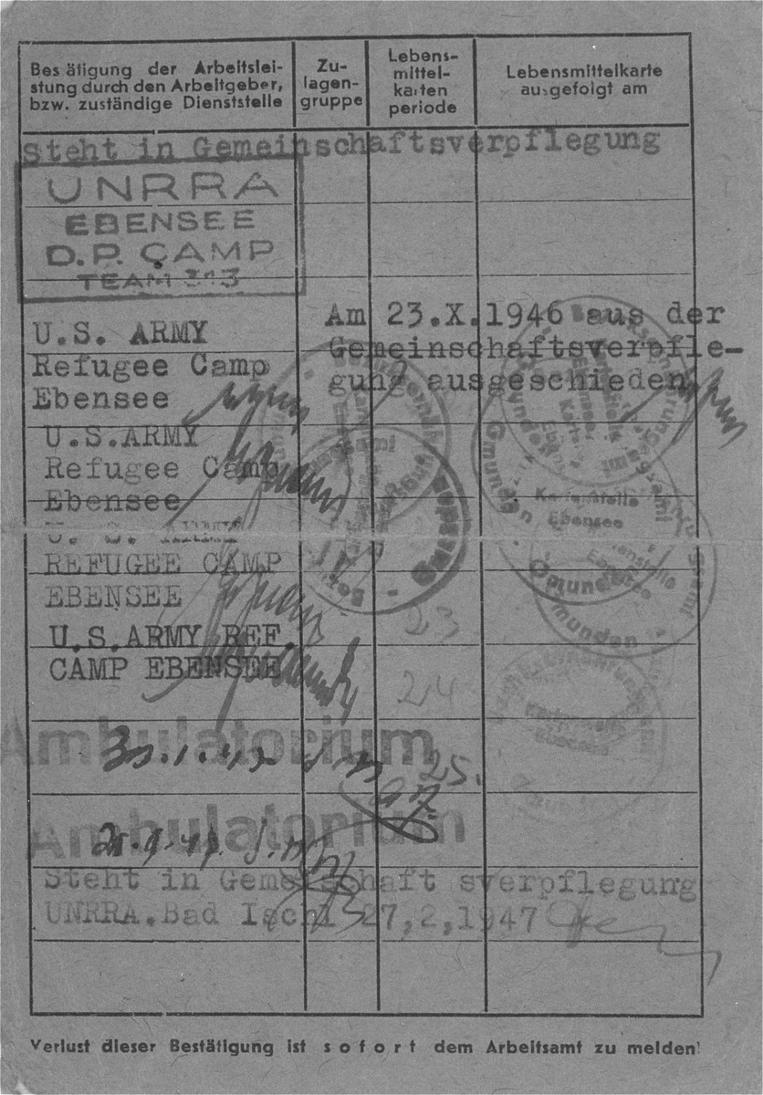 Second page of the work certificate issued to Dr. Naum Wortman during his service as a  physician at the hospital in Ebensee after the war.