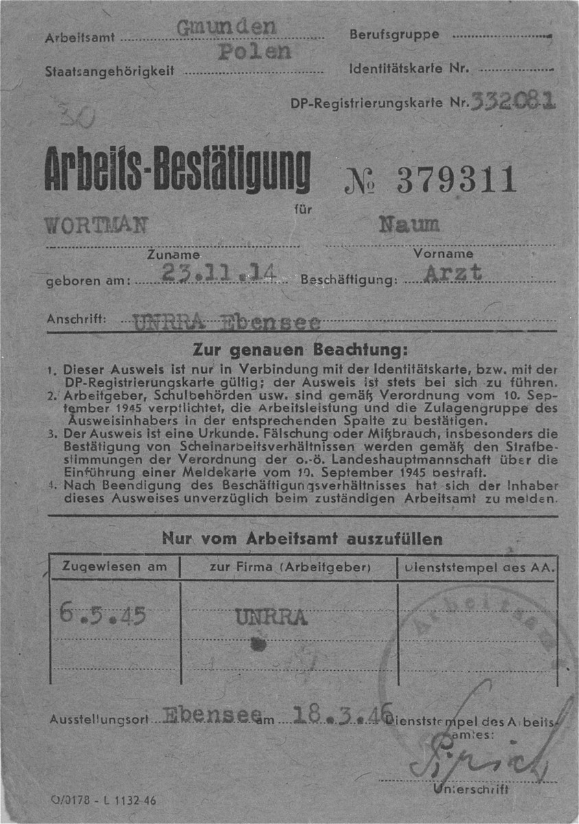 Work certificate issued to Dr. Naum Wortman, during his service as a physician at the hospital in Ebensee after the war.