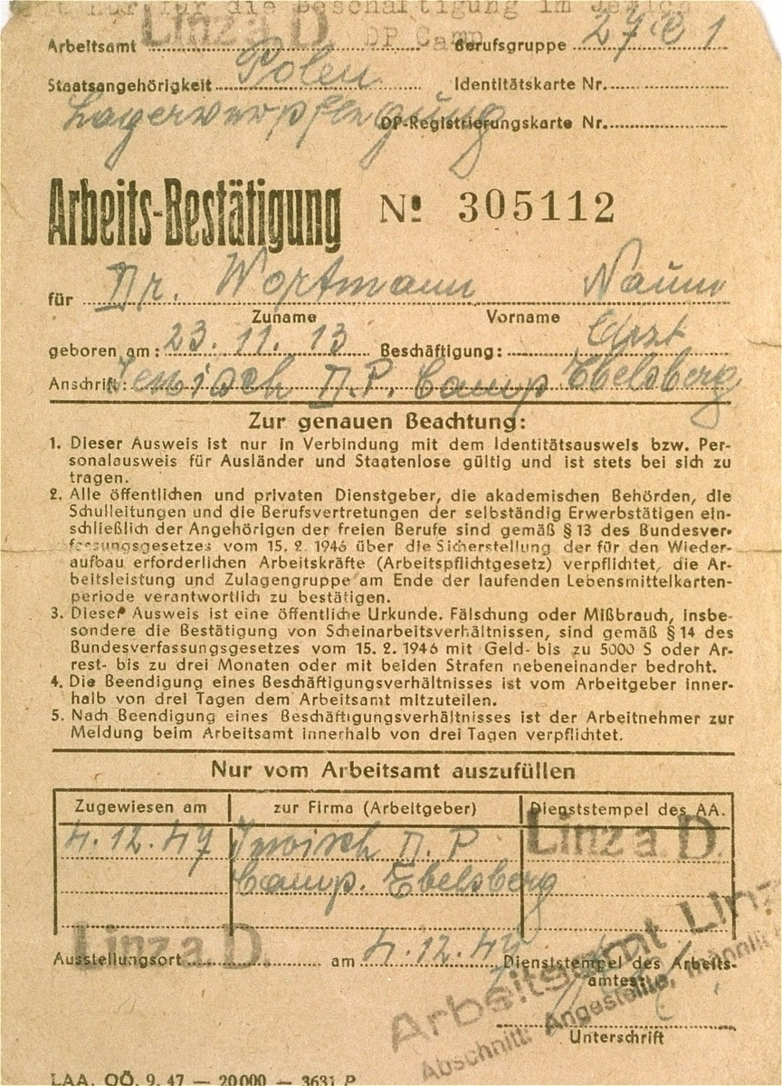 Work certificate issued to Dr. Naum Wortman during his service as a physician at the Ebelsberg displaced persons camp.