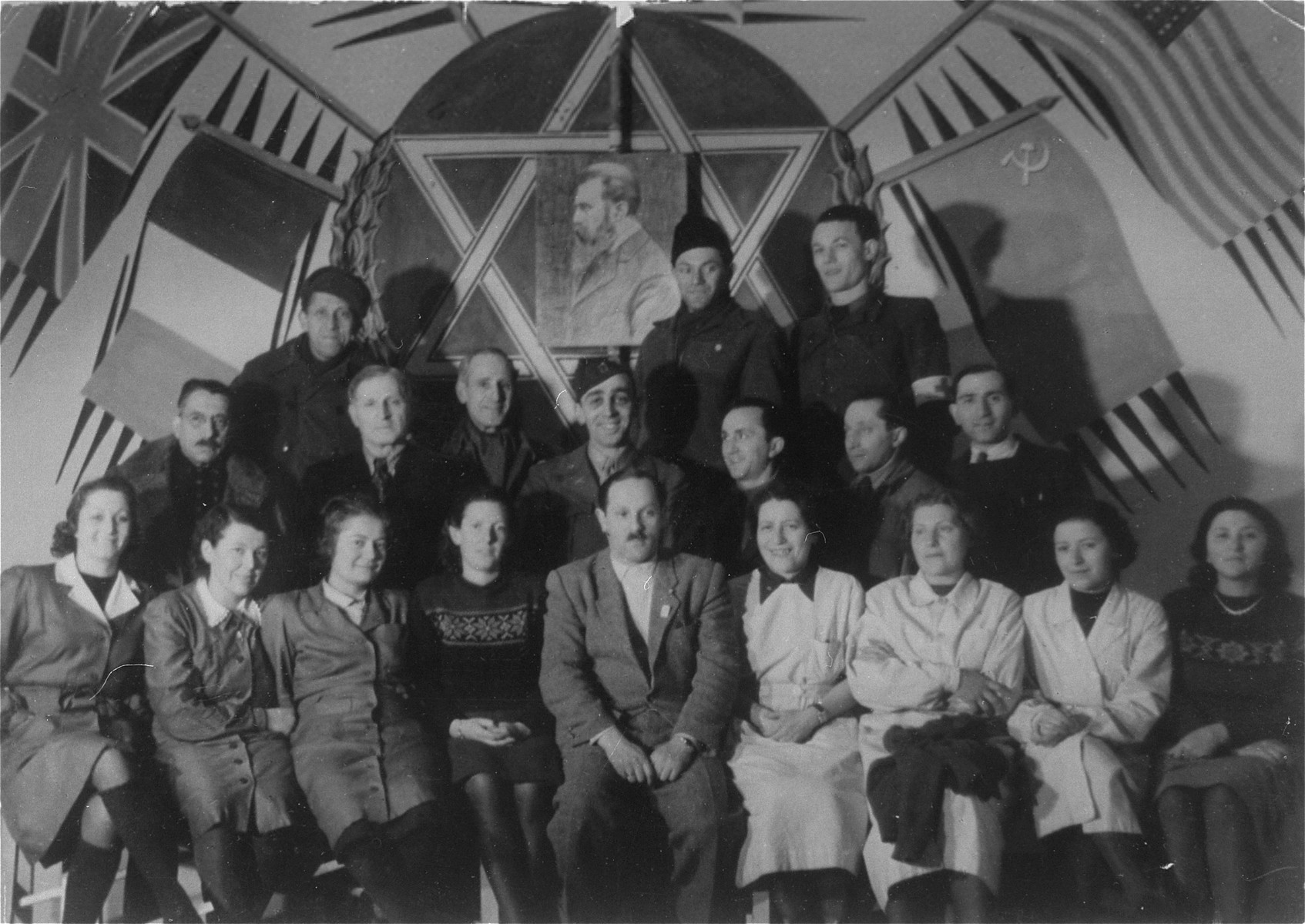 Portrait of a Zionist group at a DP camp in Vienna.