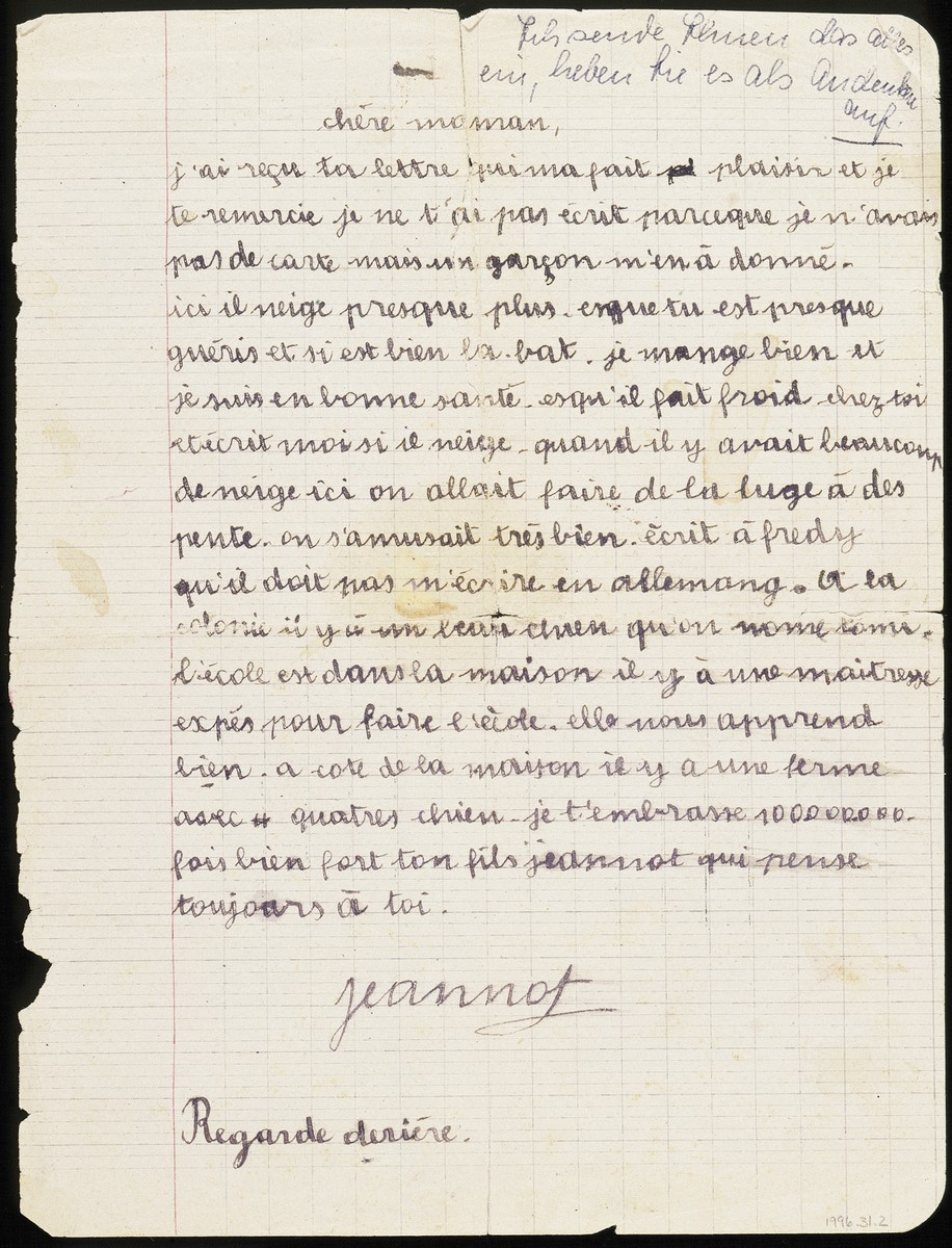 A letter that is written on the verso of a color drawing created by Hans Ament, a Jewish refugee child living in the children's home in Izieu.    The letter is addressed to his mother, Ernestina Ament, who, stricken with tuberculosis, was confined to a sanatorium in Hauteville near Izieu.