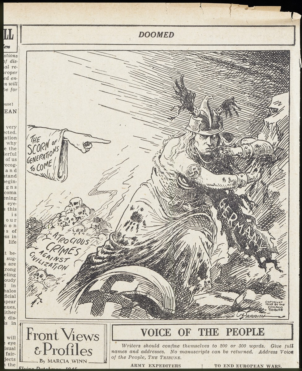 "Political cartoon entitled ""Doomed"" by Chicago Tribune cartoonist Maxfield Frederick Parrish, personifying Nazi Germany as a war-torn male figure."