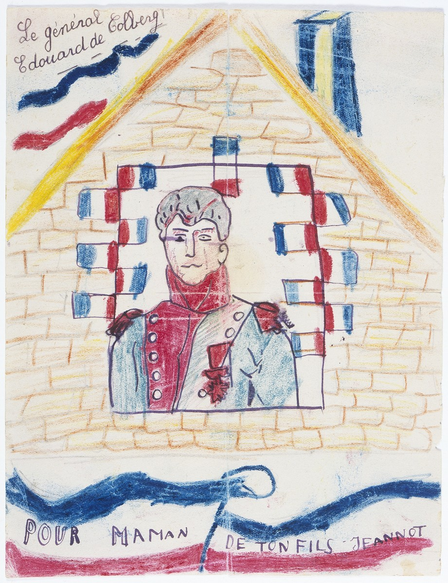 "Color drawing of General Edouard de Colberg in the window of a house, created by Hans Ament, a Jewish refugee child living in the children's home in Izieu.    The drawing is captioned, ""For Mama, from her son Jeannot."" Ernestina Ament, who, stricken with tuberculosis, was confined to a sanatorium in Hauteville near Izieu."
