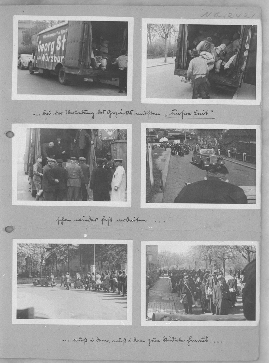 One page of a photo album depicting the deportation of the Jews from Würzburg.