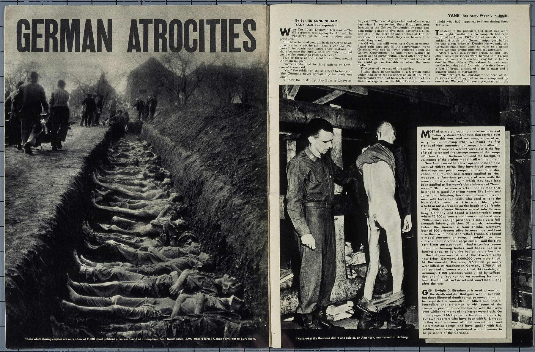 "Inside page of the June 1, 1945 Mediterranean Edition of ""Yank: The Army Weekly,"" featuring an article on German atrocities at the Buchenwald concentration camp and the Ohrdruf sub-camp."