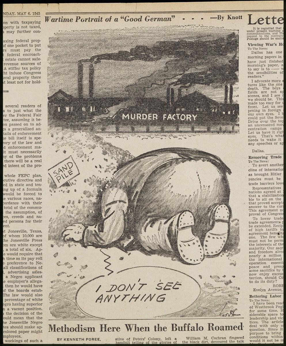 """Political cartoon entitled """"Wartime Portrait of a 'Good German'"""" by Dallas Morning News cartoonist John Francis Knott. depicting a German citizen with his head in the sand."""