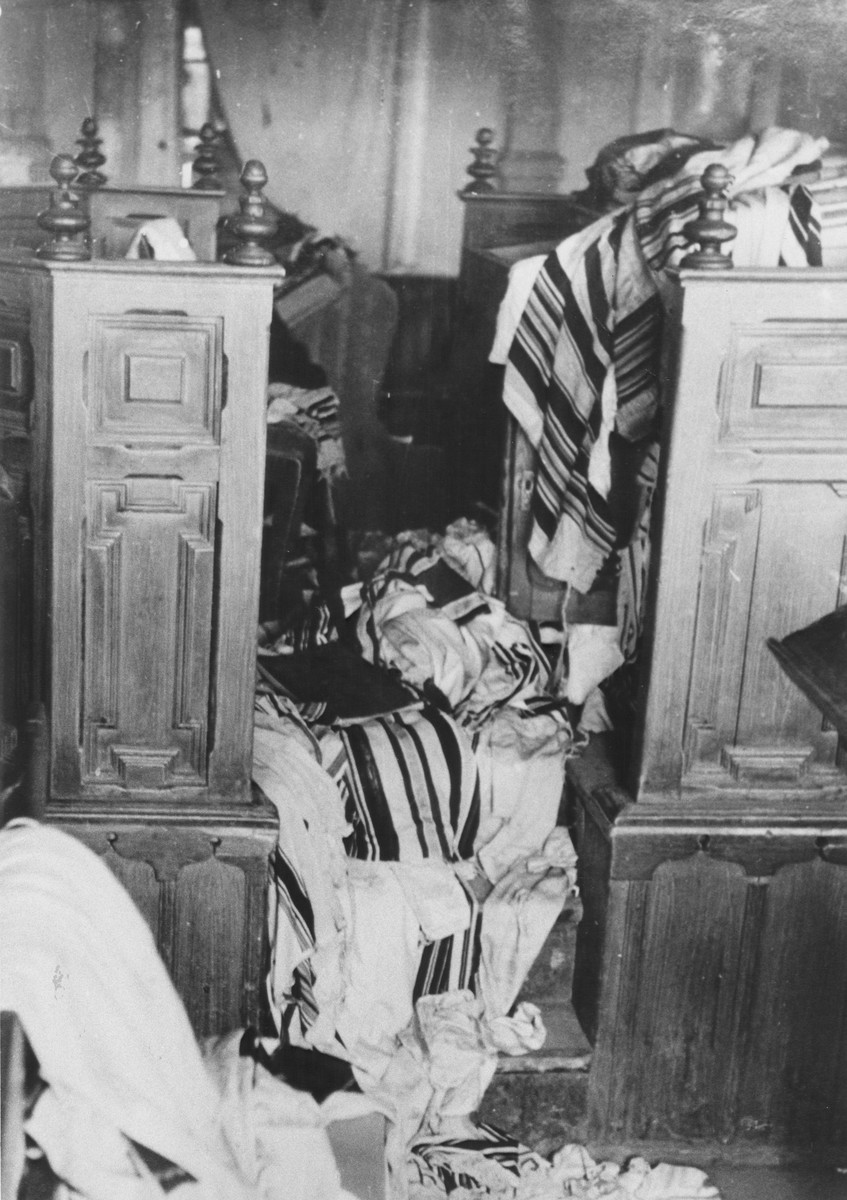 Interior view of a synagogue vandalized by Lithuanians during the June 1941 pogrom in Kovno.