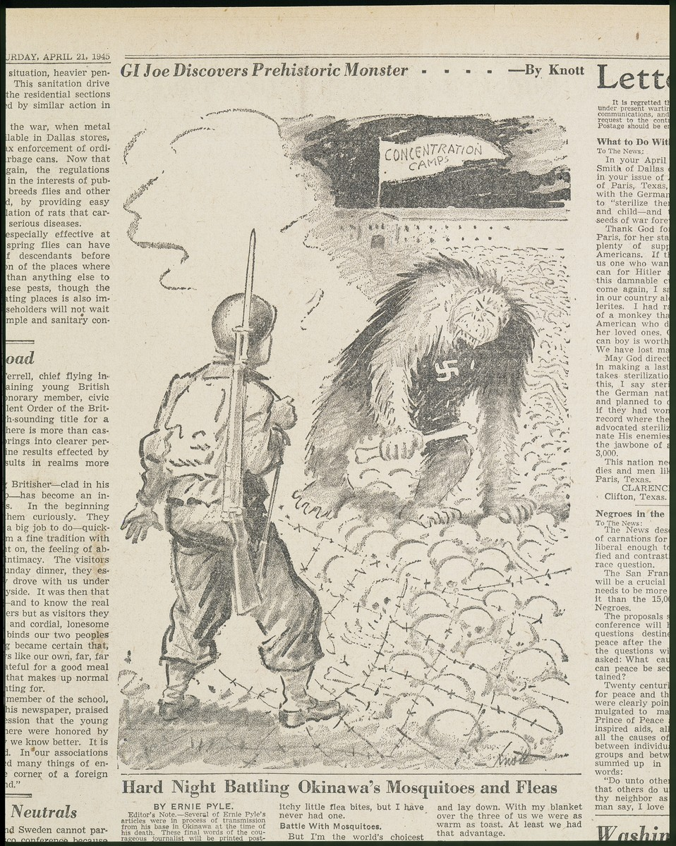 "Political cartoon entitled ""GI Joe Discovers Prehistoric Monster"" by Dallas Morning News cartoonist John Francis Knott. depicting Nazi Germany as a hairy Neanderthal creature."