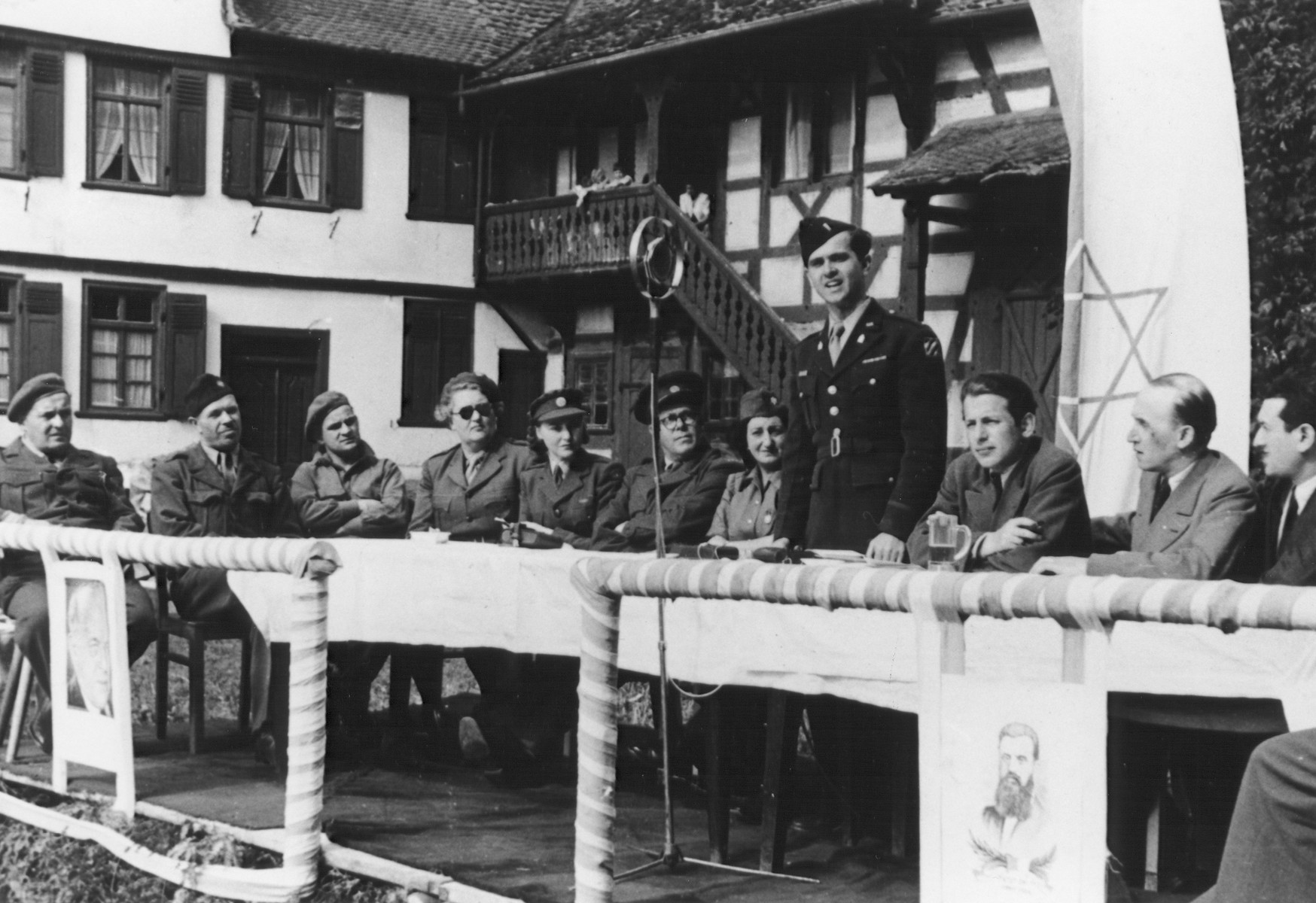 Chaplain Mayer Abramowitz addresses an outdoor Zionist meeting in Germany.