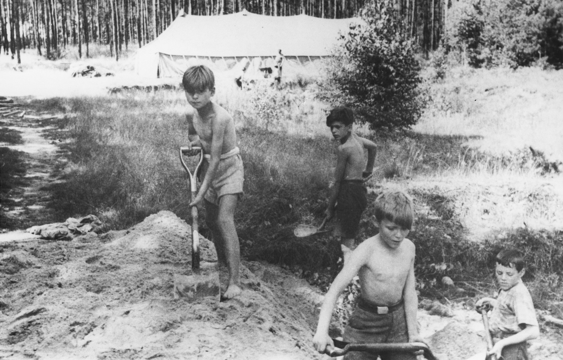 Four Jewish boys dig with shovels at a summer camp for Jewish DP children in the Grunewald Forest.