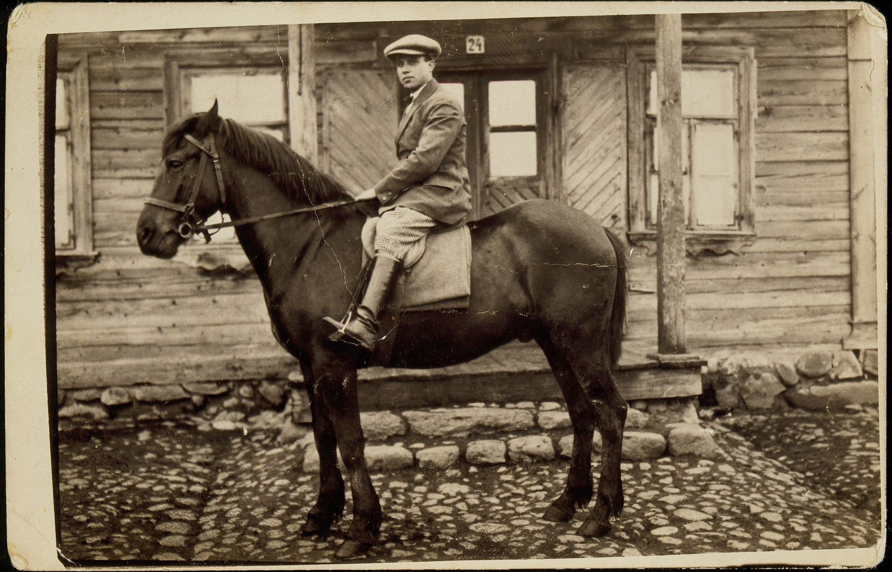 Benyamin Kabacznik riding one of his family's horses.  One of the village's best riders, Kabacznik led most of the local parades.  This photo was inscribed to Naftali Berkowitch on the eve of his departure for Palestine.