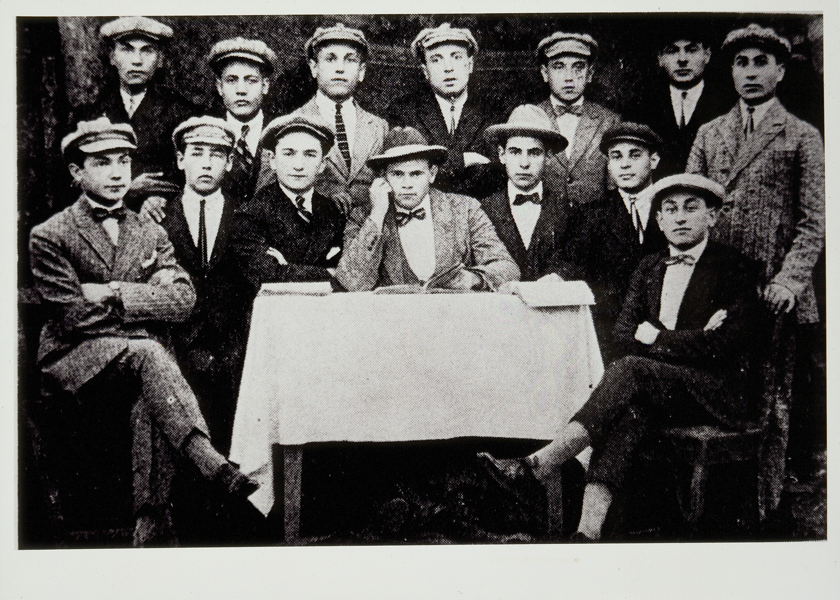 A group of students at the Volozhin Yeshivah in 1925.   Seated second from right is Yossef Goldstein from Eisiskes.