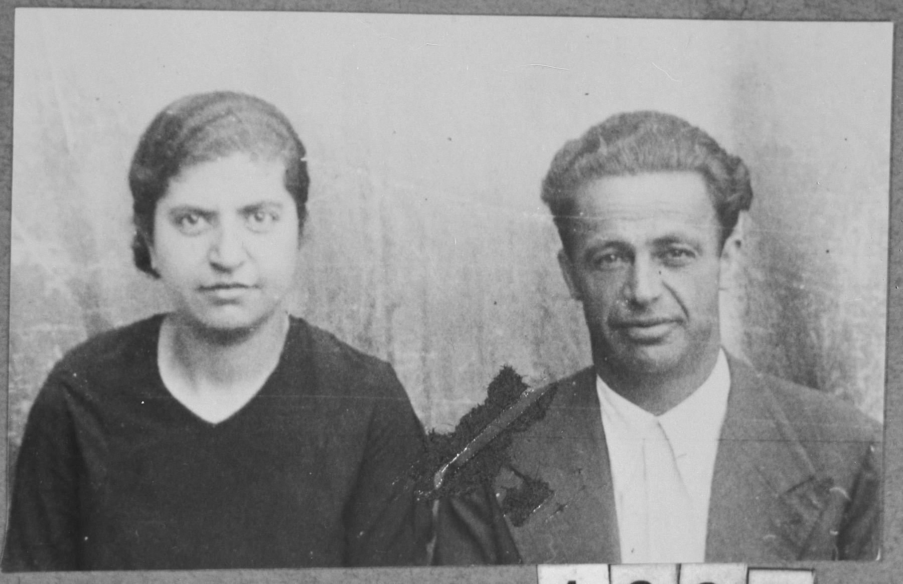 Portrait of Rafael Faradji, son of Mushon Faradji, and Rafael's wife, Mari.  Rafael and Mari were laborers.  They lived at Dr. Raisa 134 in Bitola.