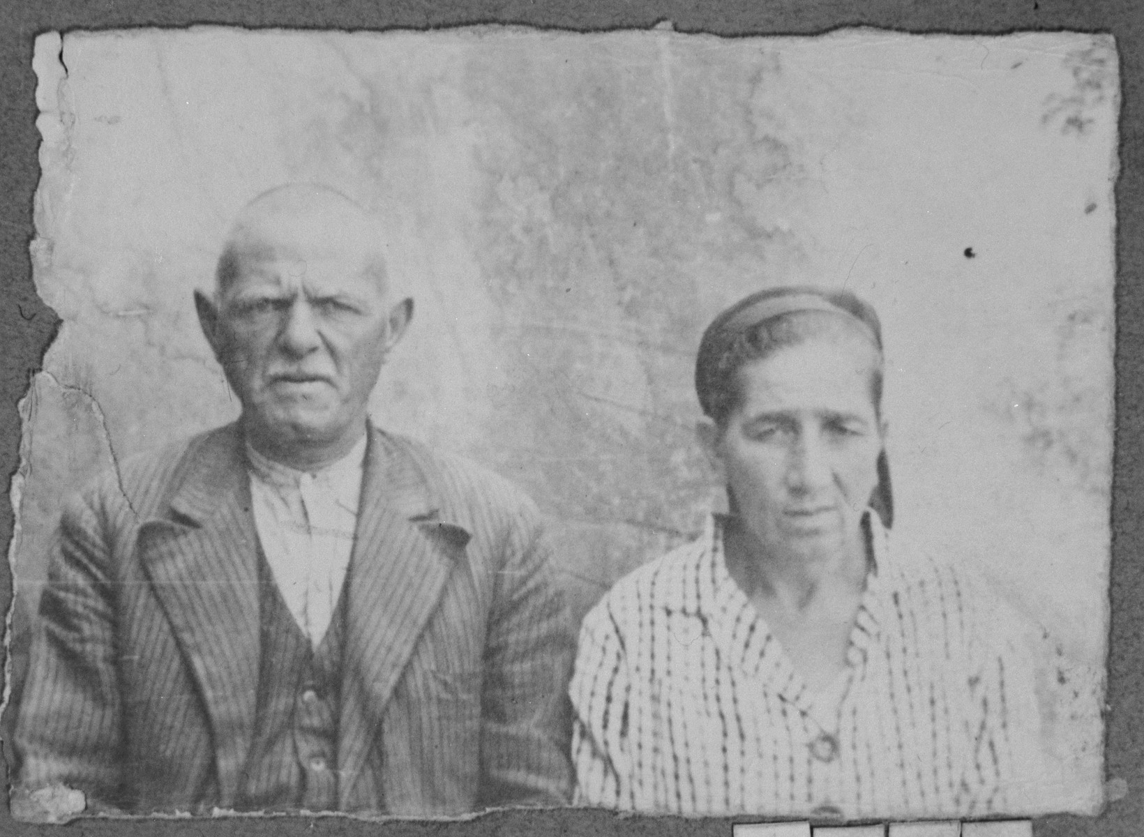 Portrait of Yakov Faradji and his wife, Palomba.  Yakov was a rag dealer.  They lived at Alimpika 14 in Bitola.