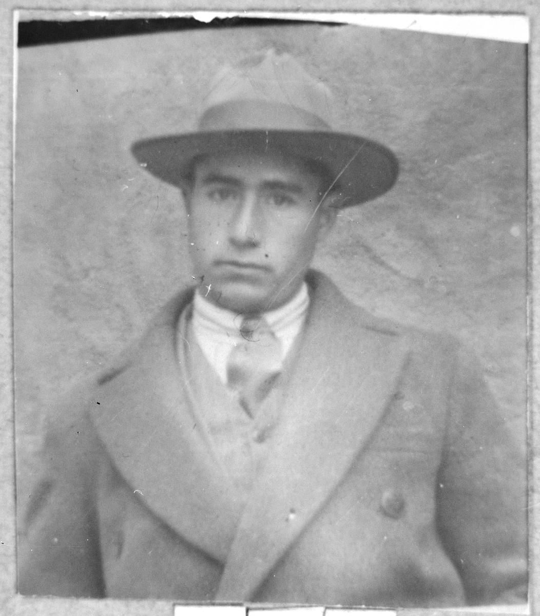 Portrait of Mois Testa, son of Mordechai Testa.  He was a tailor.  He lived at Asadbegova 1 in Bitola.