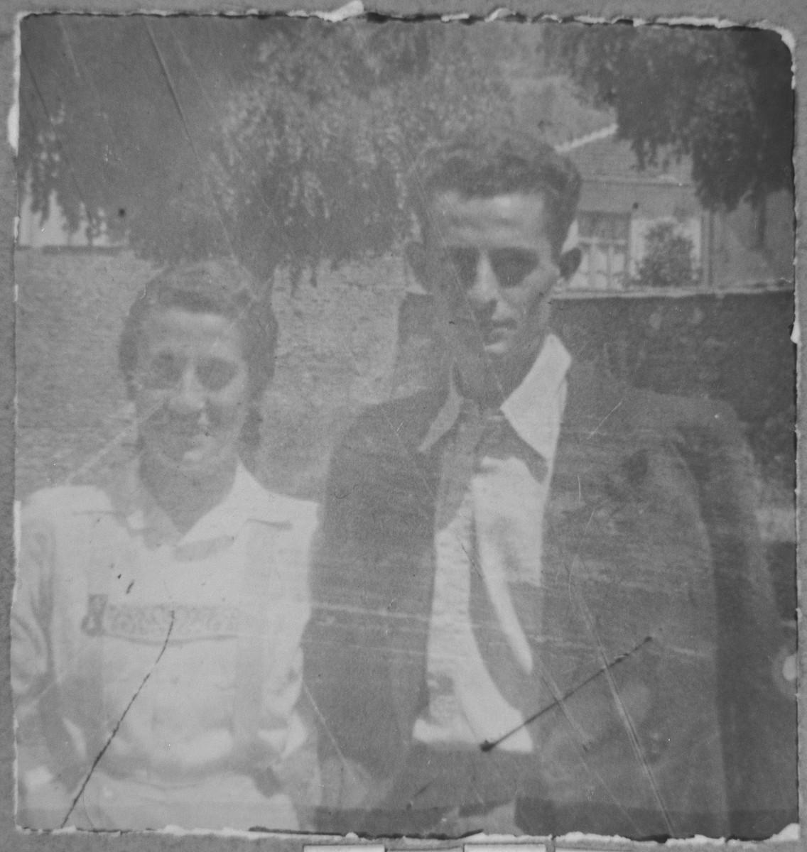 Portrait of Mois Faradji, son of Avram Faradji, and Shana Faradji, daughter of Avram Faradji.  They were students.  they lived at Karagoryeva 113 in Bitola.