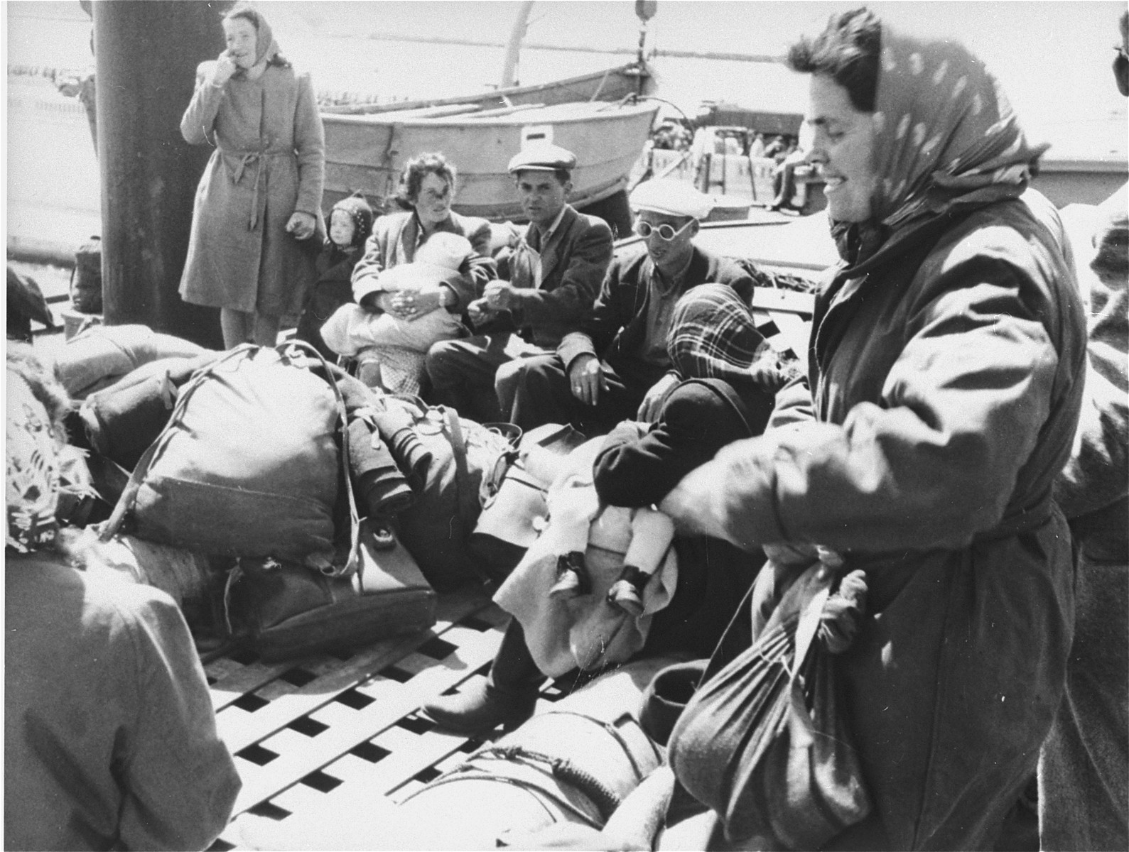 Exodus 1947 refugees on board the President Warfield, which is docked at a quay in Sete's harbor.