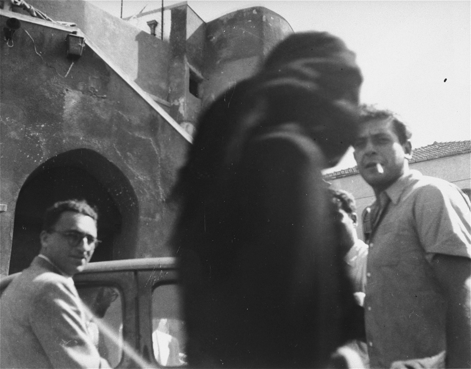 Jews at the entrance to a first aid compound in Palestine.