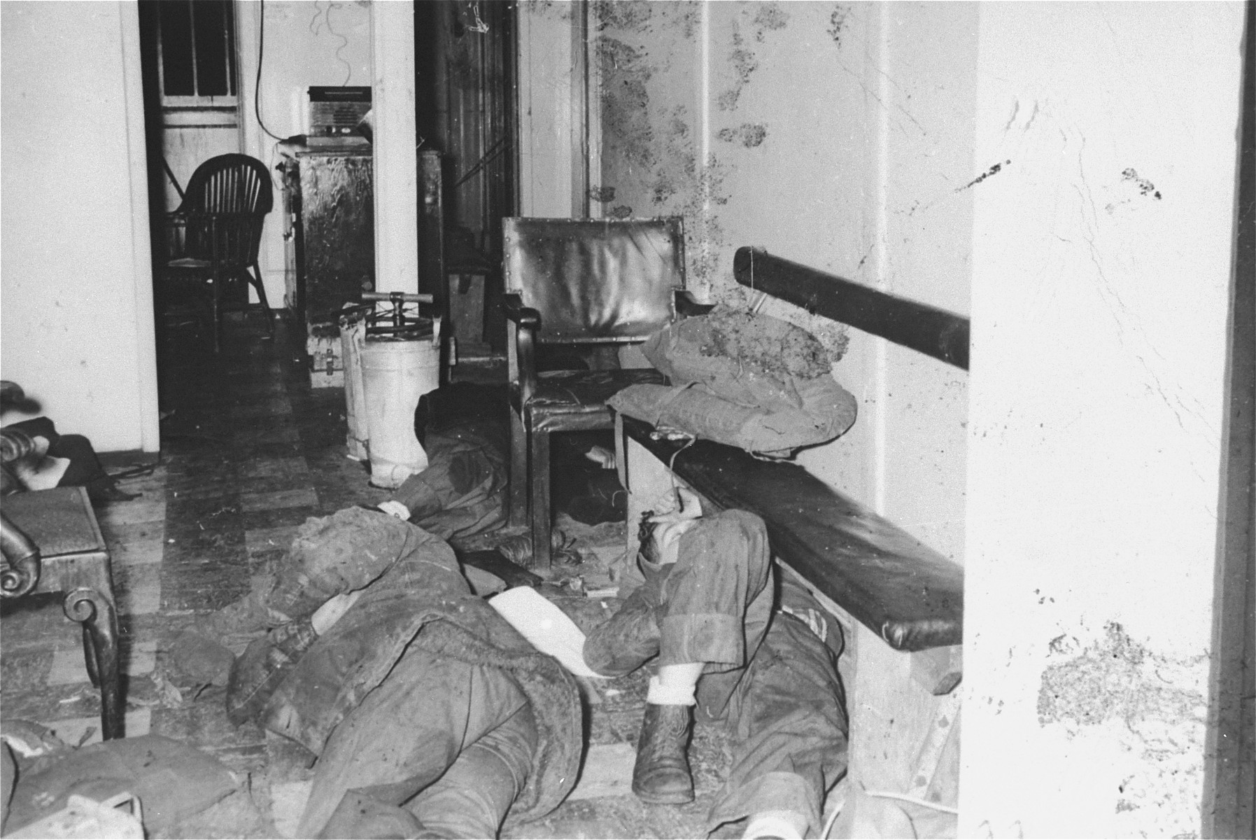 Crew members sleep on the floor of an office in the President Warfield (later the Exodus 1947) after the gale that nearly sunk the ship on its shakedown cruise.