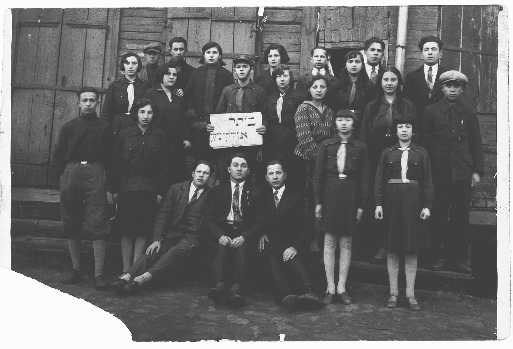 Group portrait of the members of the Zionist group Betar in Olkieniki (Valkininkai).